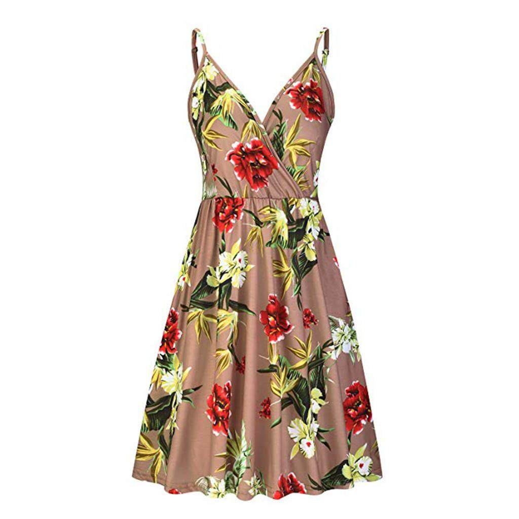 230c475818f 〖Aihid Store〗COD Korean Women's Vintage Printed Sleeveless Strappy Summer  Beach Swing Camis Dress