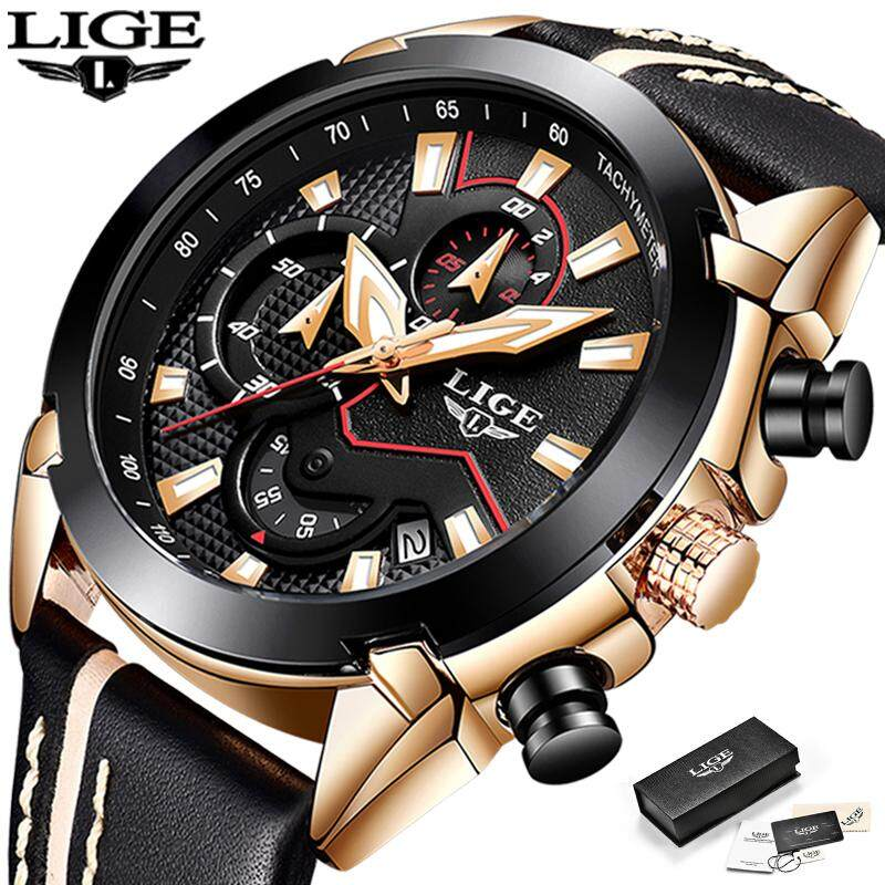 LIGE Design Fashion Watches Men Sports Waterproof Auto Calendar Leather Analog Quartz Jam Tangan Lelaki Malaysia