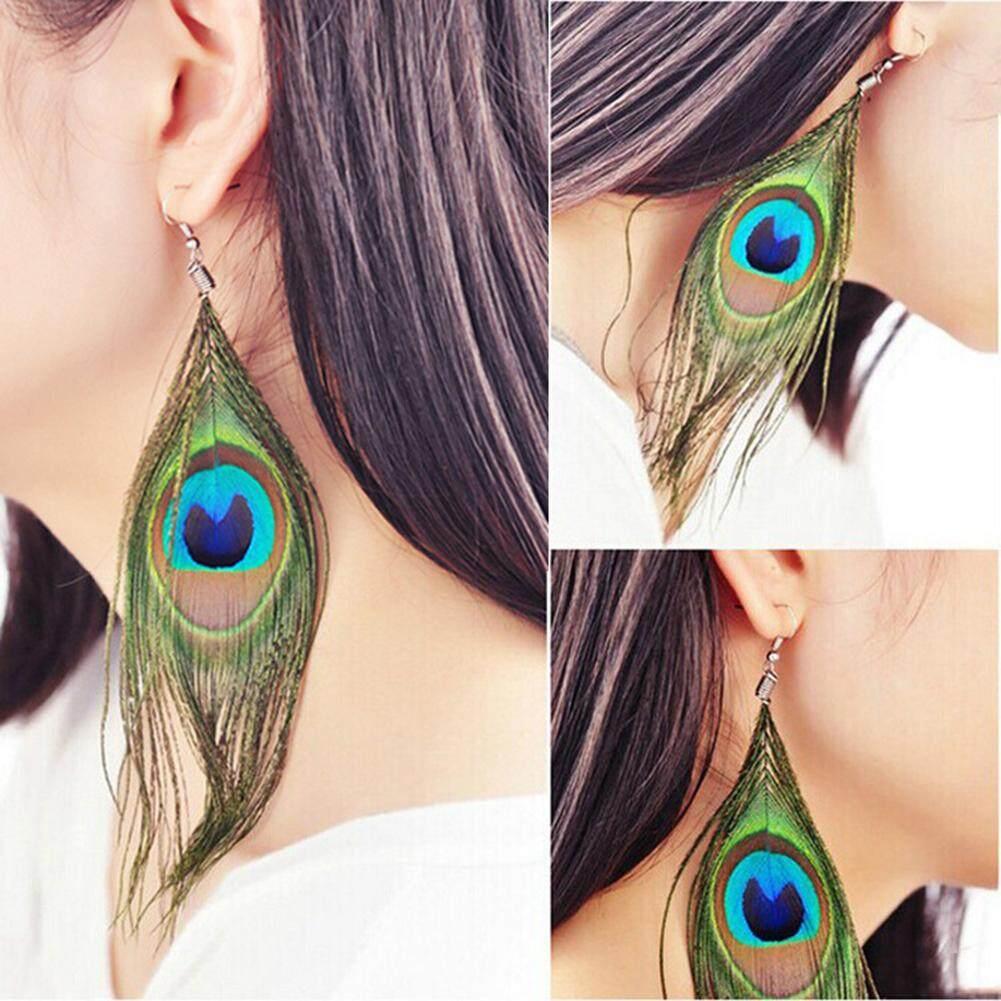 Bluelans®etnis Wanita Merak Bulu Menjuntai Hook Panjang Anting Bulat Perhiasan Dekorasi Hadiah By Bluelans