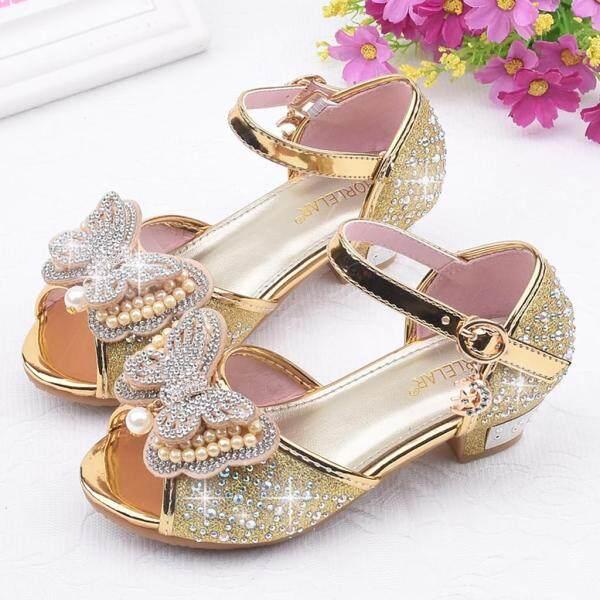 Giá bán Liuyehumall Giày phong cách công chúa dành cho bé gái giày xăng đan khảm pha lê có thắt nơ bướm đính ngoc trai dành cho trẻ mới biết đi - INTL