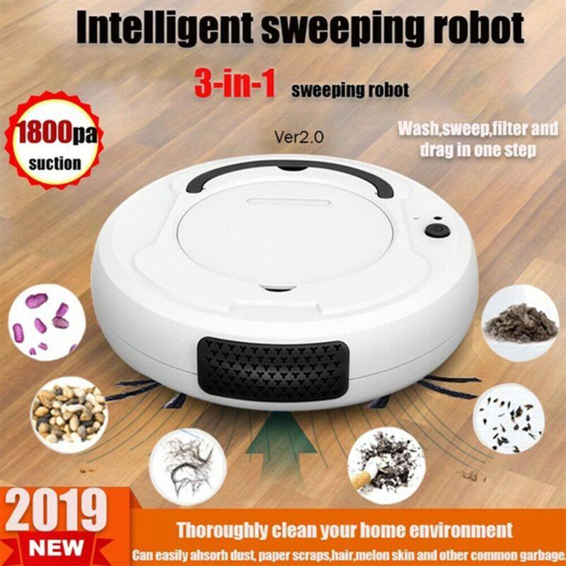 Robot Hút Bụi Quét Nhà Thông Minh 3.7V 1200MAH, Máy Hút Bụi Tự Động Làm Sạch Cạnh Sàn Với Lực Hút Mạnh 1800PA