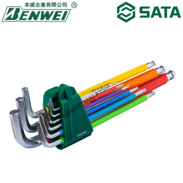 SATA HEX KEY / SATA 09101CH COLOUR SERIES 9PCS EXTRA LONG HEX KEY / SATA / SATA TOOLS / SATA HEX KEY / SATA ALLEN KEY / HEXAGON KEY / SATA TOOLS / SATA HAND TOOLS / SATA TOOL SET / SATA QUALITY TOOL / 世达工具