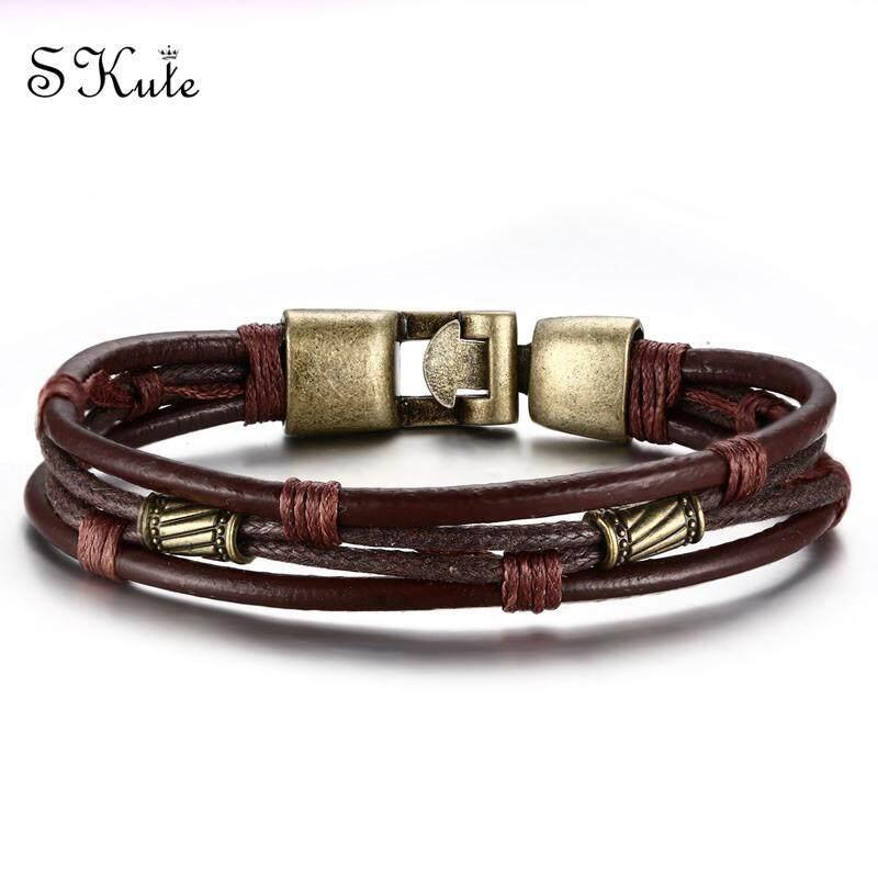28047377d ❤SKute Men Retro Knitted Bracelets Stainless Steel Bronze Beads Leather  Braid Rope Men's Bracelet