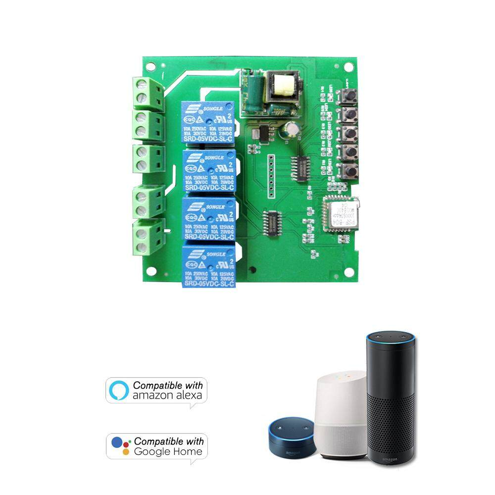 SONOFF 4CH AC85-250V 4 Channels Din Rail Mounting WiFI Switch Universal Wireless Smart Switch Compatible with Amazon Alexa & for Google Home/Nest Smart Home