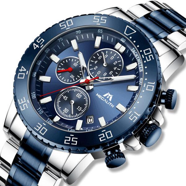 MEGALITH Business Men Watch Stainless Steel Wristwatch Chronograph for Men Waterproof Date Quartz Watches Men Clock Malaysia