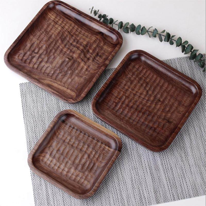 3Pcs Japanese Black Walnut Wood Tray Dinner Plate Disc Coffee Tea Tray Fruit Bread Food Dessert Tea Breakfast Plate Square Tableware Hotel