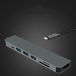 ( Hot ) Bộ Chuyển Đổi Tương Thích USB 3.1 Type C Hub Sang HDMI Hub Thunderbolt 3 USB C 4K Với Hub , 3.0 Khe Cắm Đầu Đọc Thẻ TF SD PD Dành Cho MacBook Pro-Air thumbnail
