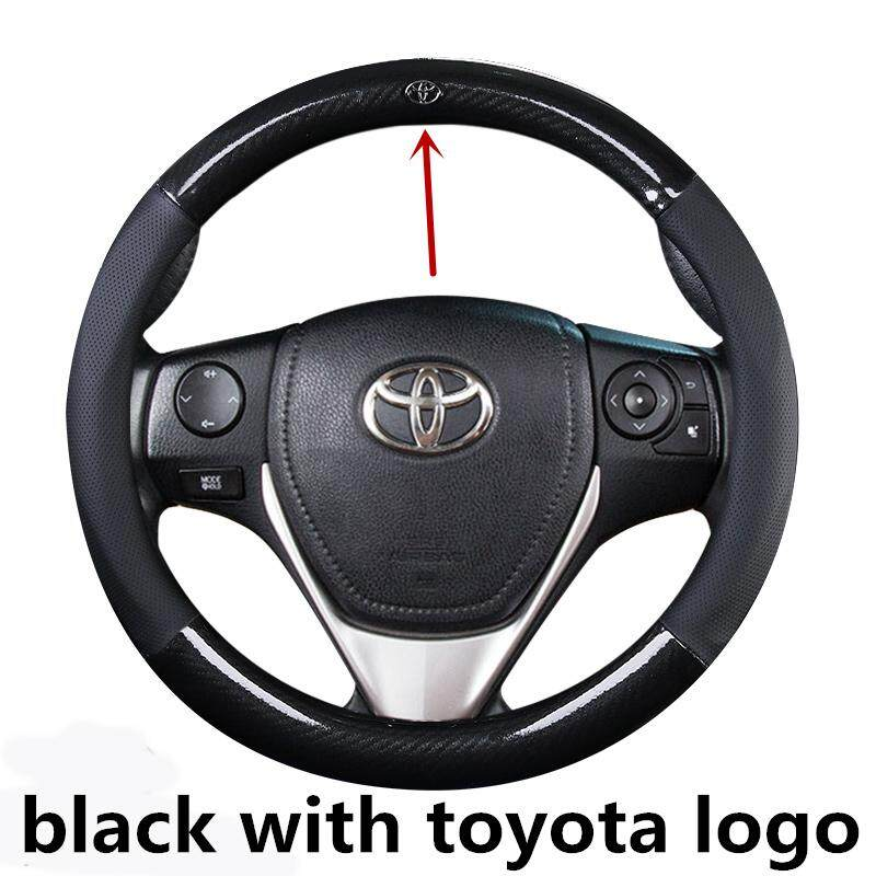 Leather Car Steering Wheel Cover 38cm Car Styling Anti Slip Wheels Covers For Toyota Hiace Wish Hilux Prevla Rav4 Prius Vios Camry Rush C Hr Fortuner