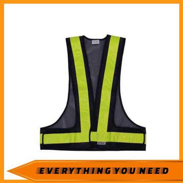 [ EYNS PICK ] SFVest High Visibility Reflective Vest Reflective Safety Strap Vests Workwear Security Working Clothes Day Night Cycling Running Traffic Warning Safety Waistcoat (Black & Yellow)