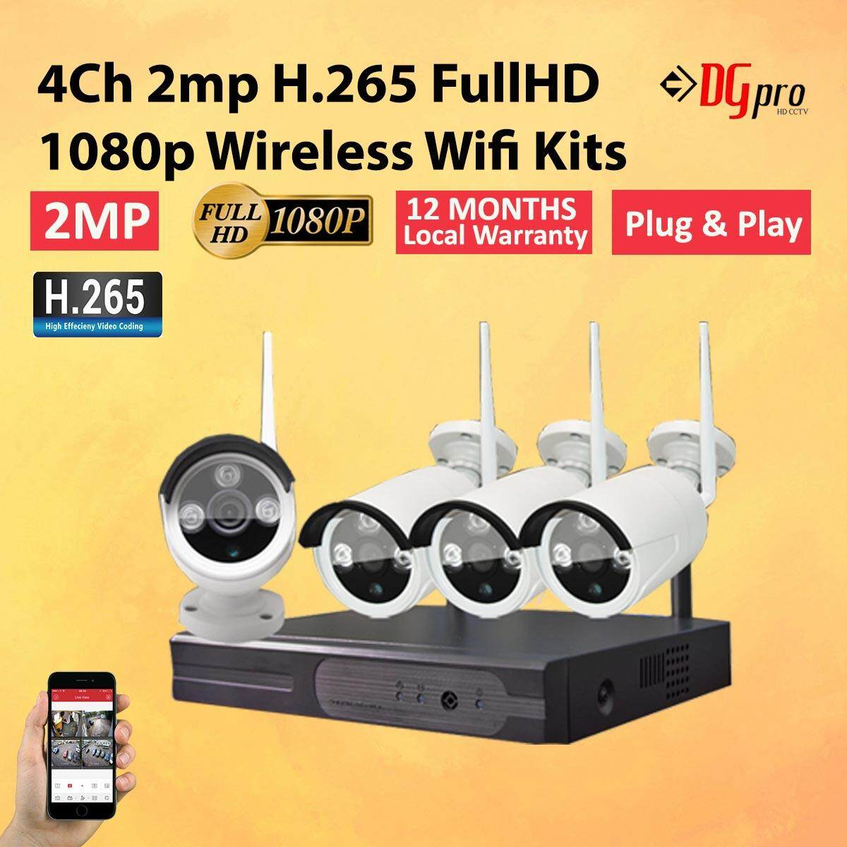 4CH H 265+ Full HD 1080P 2MP Wireless WIFI CCTV IP Camera Kits (12 Months  Local Warranty)