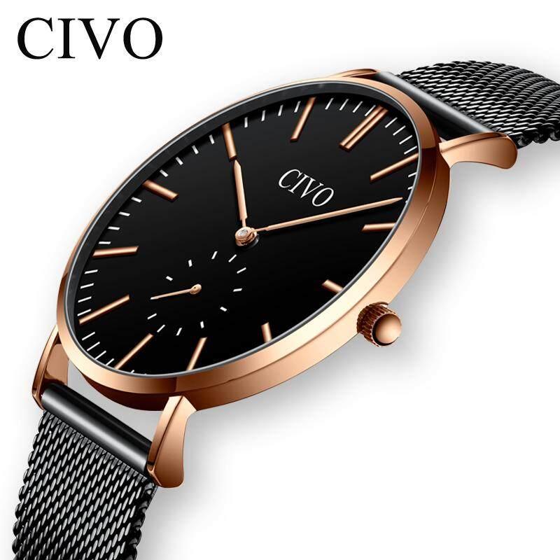c660437e8 CIVO New fashion Watch Men Waterproof Analogue minimalist Quartz Wristwatch  Black Stainless Steel Mesh Watch Men