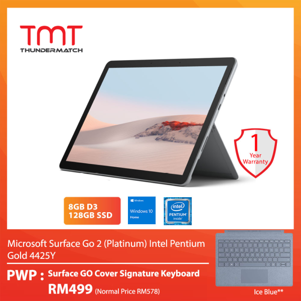 Microsoft Surface Go 2 (Platinum) Intel Pentium Gold 4425Y (8GB D3, 128GB SSD) 10.5 Touch Bundle Surface Go Type Cover Signature Keyboard Ice Blue Malaysia