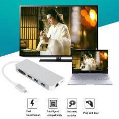6 trong 1 Loại C HUB USB 3.1 Loại C sang HDMI/VGA/RJ45/2 Cổng USB 3.0 PD USB hợp Cổng bộ chuyển đổi