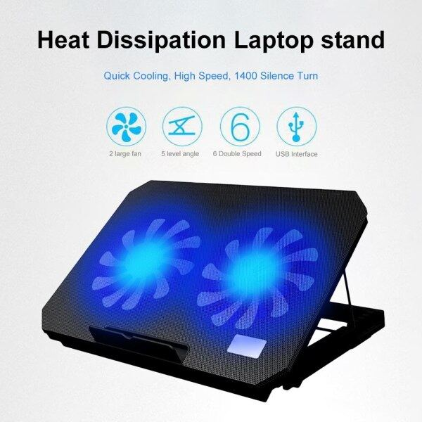 Laptop Cooler Cooling Pad Adjustable Speed 2 USB Ports and 2 Cooling Fan Laptop Cooling Pad Notebook Stand for 12-17 inch Malaysia