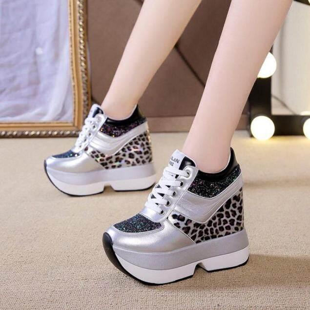 Giày đế xuồng 10cm/3.9 Giày thể thao nữ Giày thường ngày đế dày màu đen giá rẻ