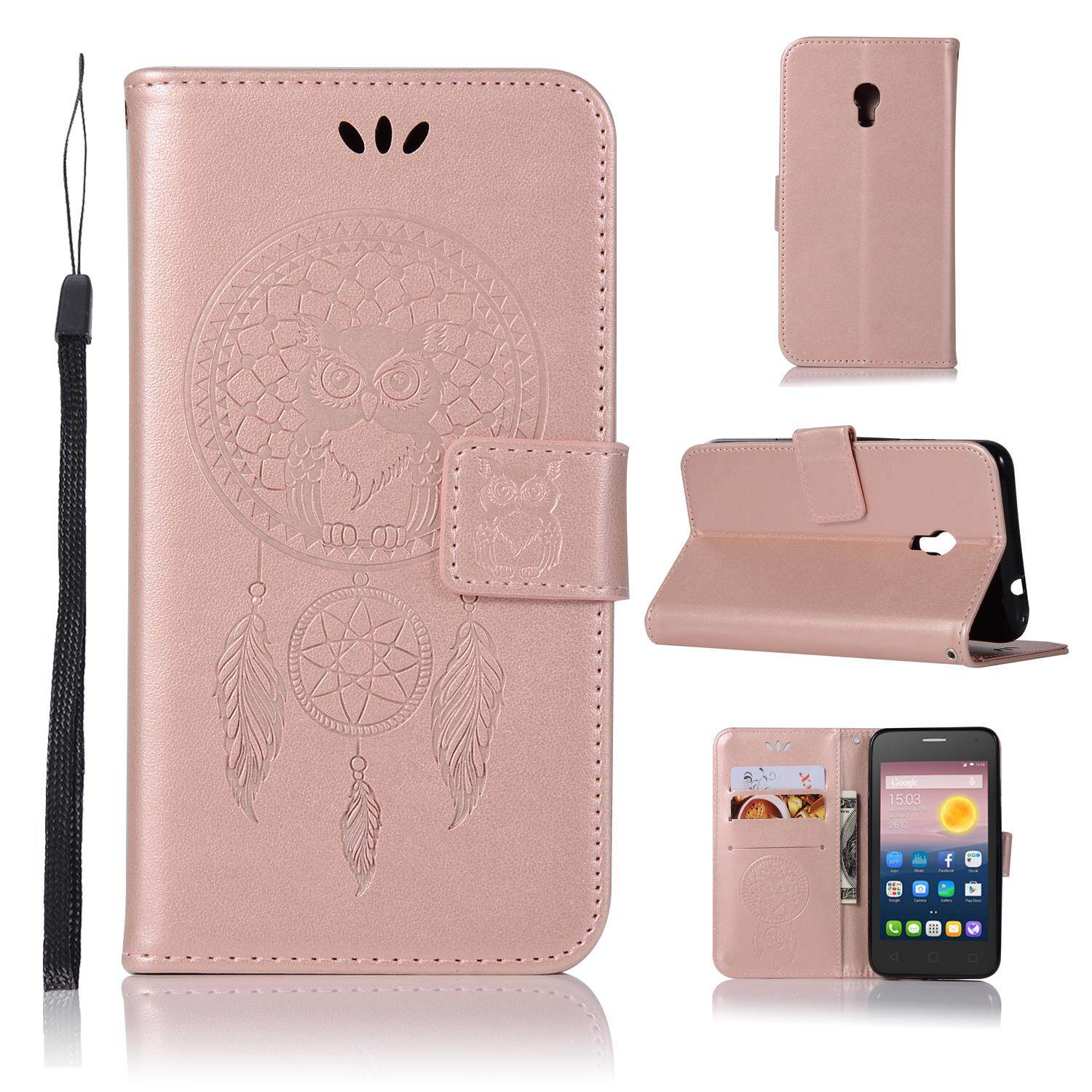 Luxury For Alcatel One Touch Pixi 4 (5.0 Inch) Casing , 3d Owl Embossing Leather Folio Flip Case Cover By Life Goes On.