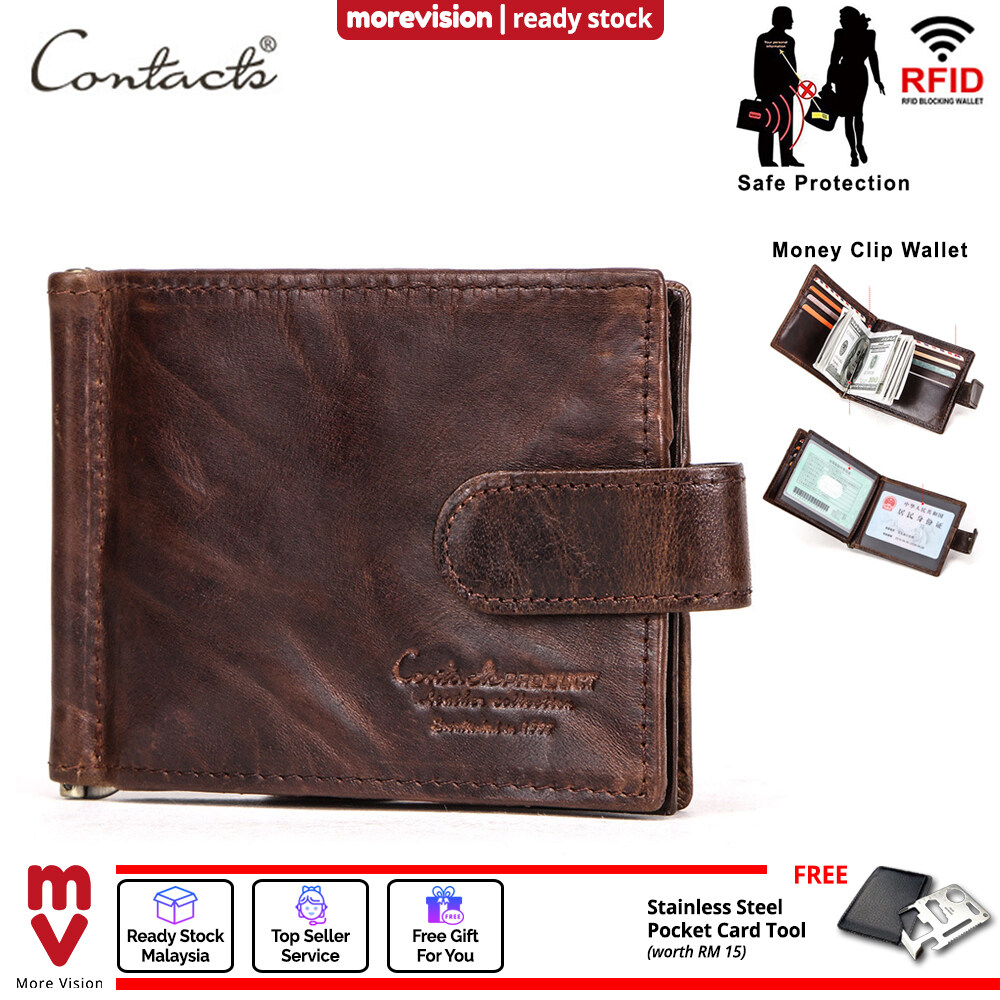 RFID Blocking Protect Men Wallet Cowhide Genuine Leather Thin Purse Card Holder