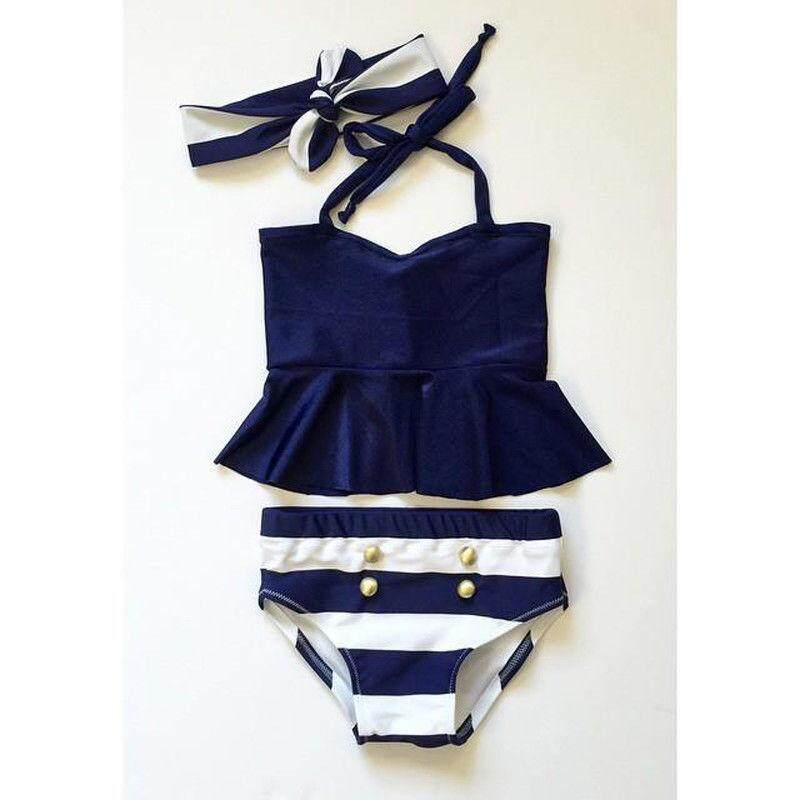afc3cebfb36c 3pcs Kids Baby Girl Bikini Suit High Waist Stripe Swimsuit Swimwear Bathing  Suit