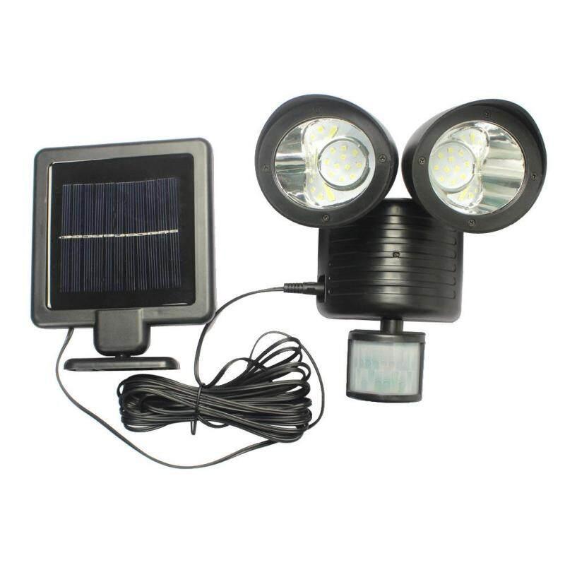 Năng Lượng Mặt Trời Đèn Cảm Biến Cơ Thể Hai Đầu Ngoài Trời Không Thấm Nước 22LED Cảnh Quan Sân Vườn Đèn Cửa Hành Lang Nhà Để Xe Spotlight Đen 22 Đèn Pha LED