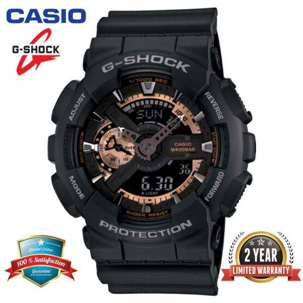 Original G Shock GA110 Men Sport Watch Dual Time Display 200M Water Resistant Shockproof and Waterproof World Time LED Auto Light Sports Wrist Watches with 2 Year Warranty GA-110RG-1A Black Rose Gold (Ready Stock) Malaysia