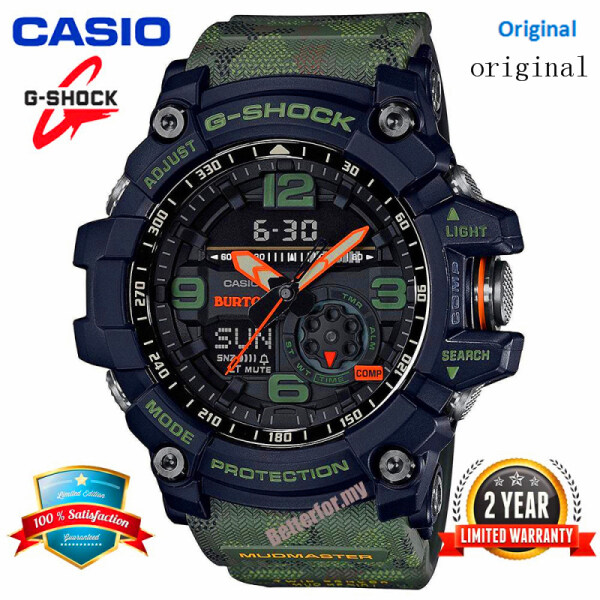 (HOT SALE) Original G Shock GG1000 MUDMASTER Men Sport Watch Dual Time Display 200M Water Resistant Shockproof and Waterproof World Time White LED Auto Light Compass Thermometer Sports Wrist Watches GG-1000BTN-1A Camouflage Green Malaysia