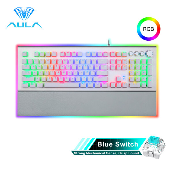 YFD AULA L2098 FULL RGB Mechanical Keyboard Marco Programming metal panel Crystal Black/Blue Switch for PC Laptop Game Singapore