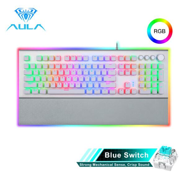 YFD AULA L2098 FULL RGB Mechanical Keyboard Marco Programming metal panel Crystal Black/Blue Switch for PC Laptop Game Singapore