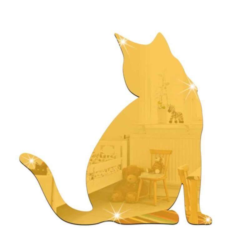 Hiện đại 3D Mèo Gương Dán Tường Nghệ Thuật Phòng Decal Nhà Trang Trí Phòng Ngủ Có Thể Tháo Rời