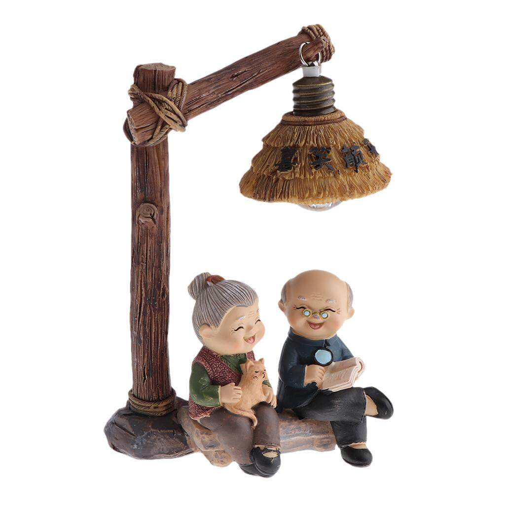 Dolity Home Garden Statue Resin Craft Happy Old Couple Figurines Creative Toy Gift