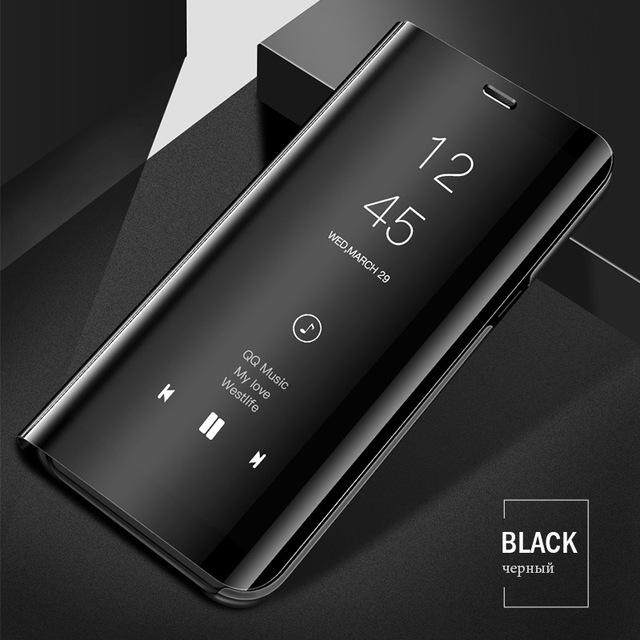 Myline untuk OPPO A59/F1s Cermin Penerjunan Ponsel Pemegang Penyangga Sarung Plating Smart Jelas PU Kulit Belakang Cover