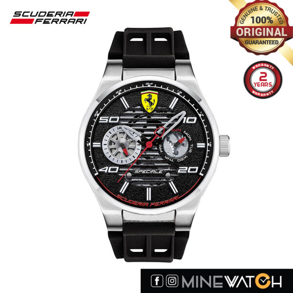 Scuderia Ferrari Chronograph 44mm Black Dial Black Rubber Mens Watch 0830429 Malaysia