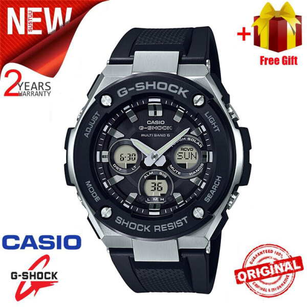 Original G Shock GST300 Men Sport Watch Dual Time Display 200M Water Resistant Shockproof and Waterproof World Time LED Auto Light Stainless Steel Wist Sports Watches with 2 Year Warranty GST-W300-1A Black Silver (Ready Stock) Malaysia