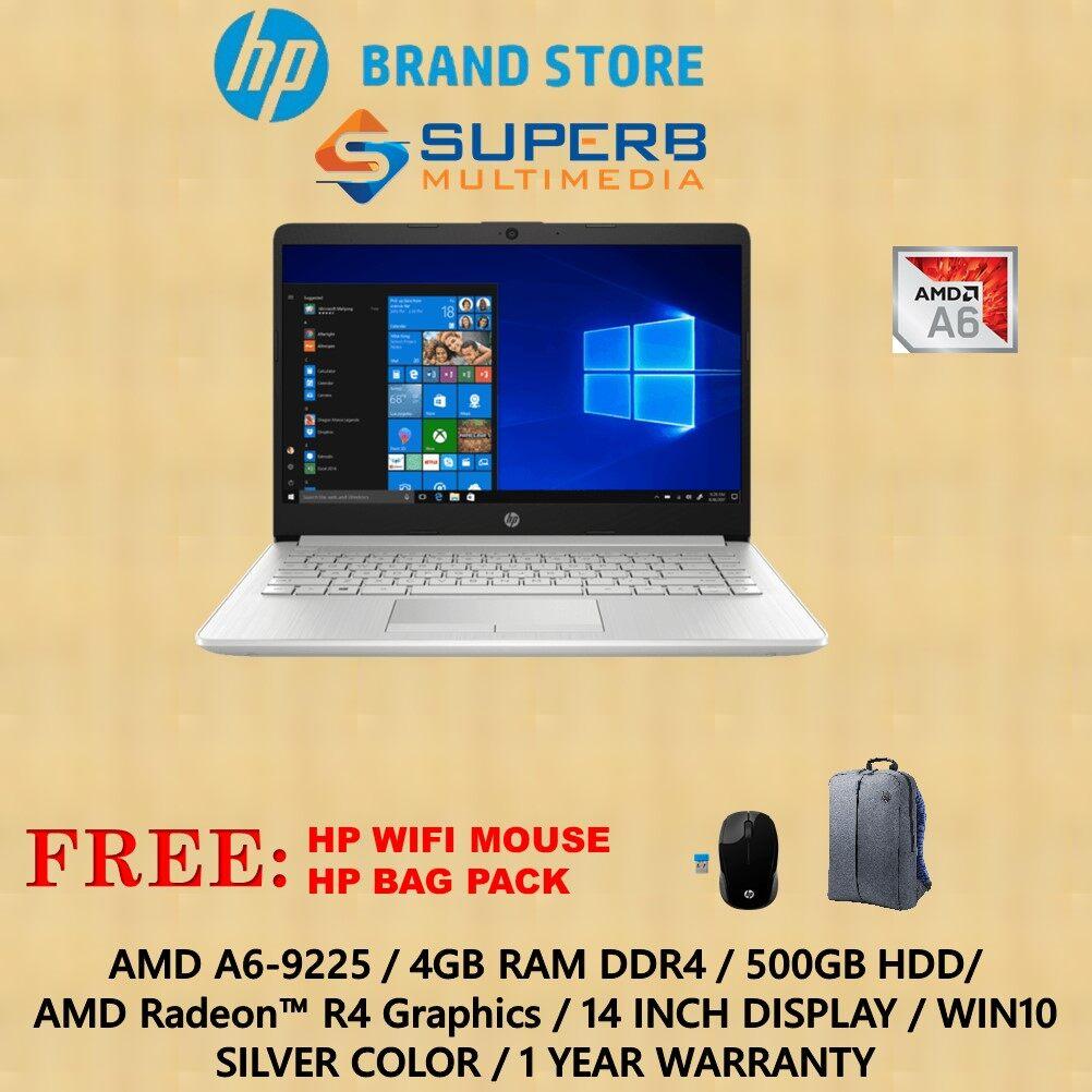 HP 14s-dk0001AU laptop (A6, 4GB, 500GB, Win10, 1yr, Silver) Malaysia