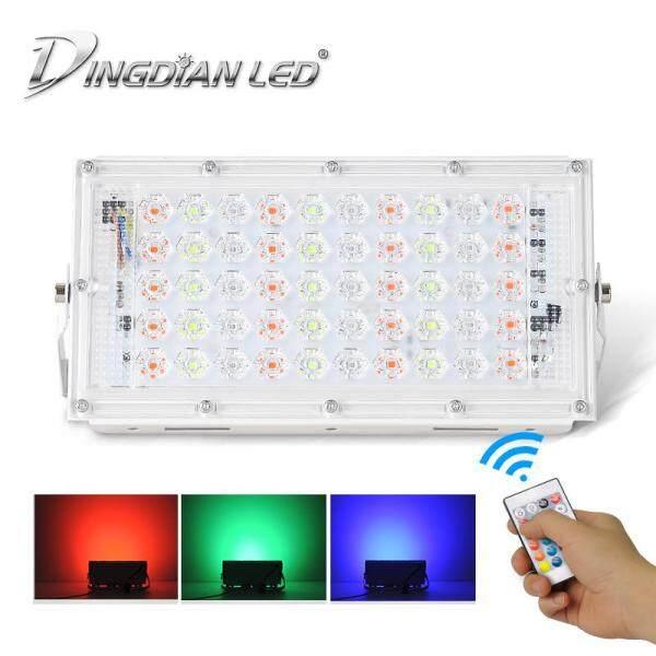 DINGDIAN LED AC220V Đèn Pha Led Đèn RGB 16 Màu Ngoài Trời IP66 Chống Nước 50W Công Suất Hoàn Hảo Điều Khiển Từ Xa Đèn Pha Led Đèn Pha Nhiều Màu