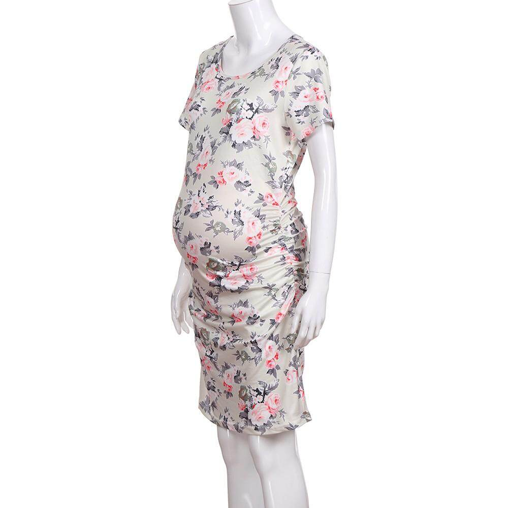 c53f800265 Product details of Free Shipping Women s Pregnancy Floral Print Dress  Maternity Short Sleeve Sundress Clothing