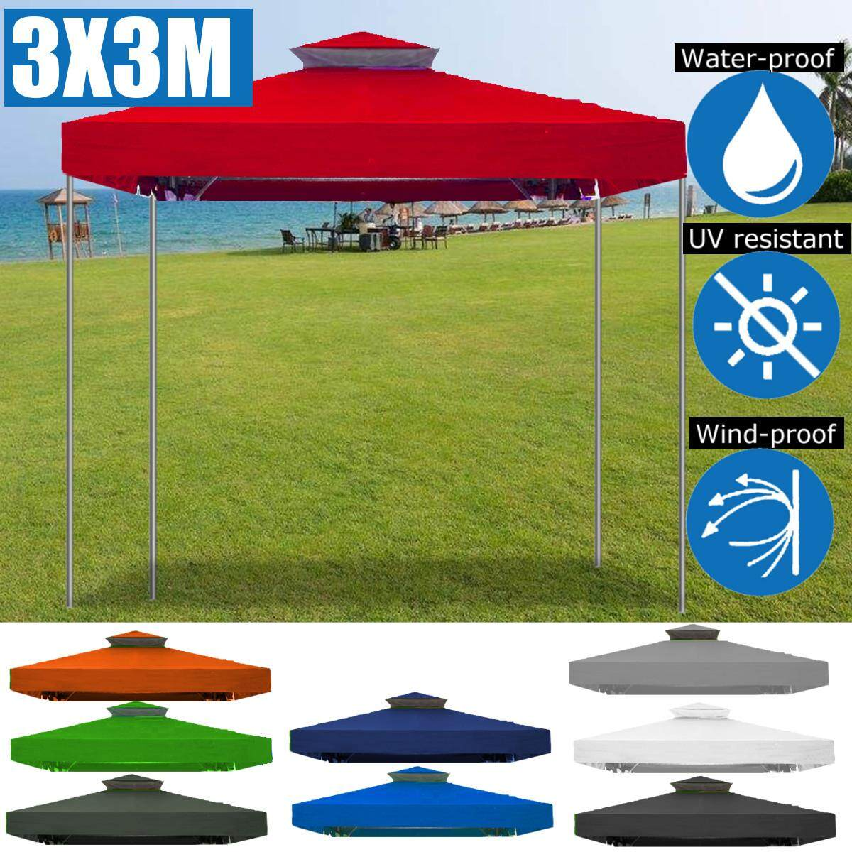 3x3m Tent Canopy Gazebo Awnings Pop Up Outdoor Patio Garden Shade Replacement