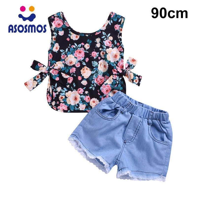 031880296960 ASM Kids Girls Tops with Shorts Suit Sleeveless Print Breathable Clothing  Set for Summer