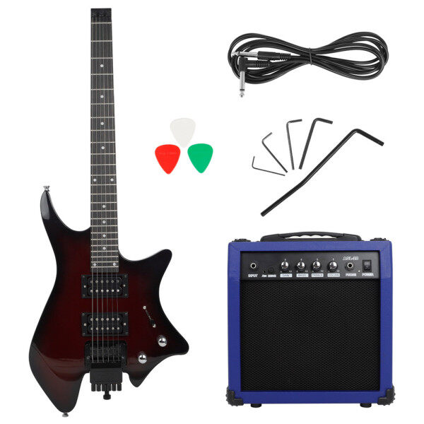 Headless Electric Guitar with Double-row Pickup electric guitar pick electric wrench Speaker Audio Cable Handle Wrench Malaysia