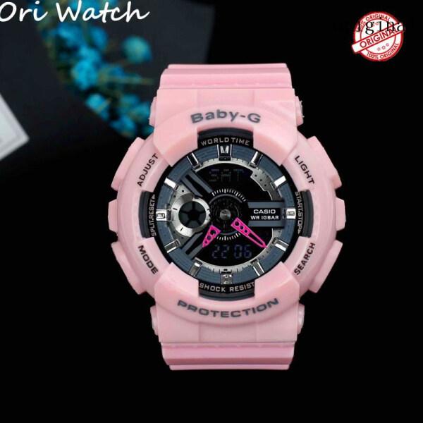 (Free Shipping) 2021 Original CasioBaby G BA-110 Running series for women Metallic Pink Resin Band Waterproof Shockproof Famous Brand Watches for men(pink) BA-110 / BA110 Malaysia