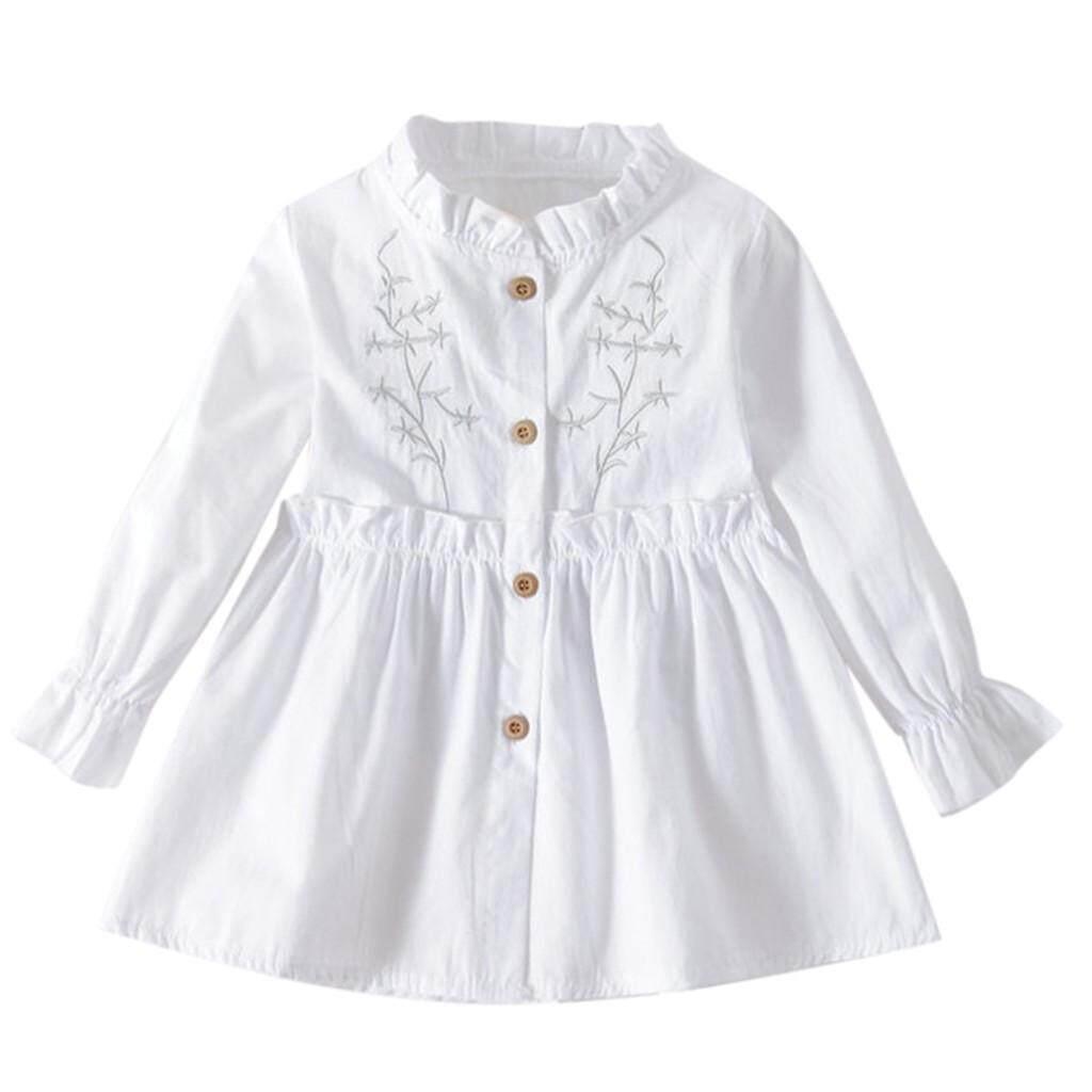 Image 2 for Aynshop ทารกเด็กผู้หญิงแขนยาว Ruched Floral Dressed เสื้อผ้า
