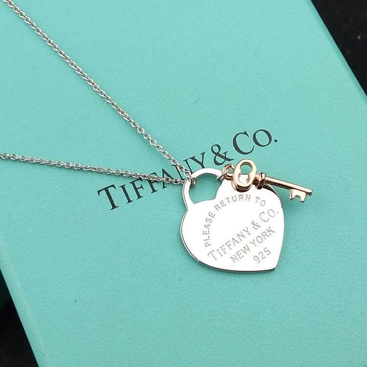 T iffany hình trái tim bông hoa hồng vàng Chìa Khóa Trái Tim khóa Mặt Dây Chuyền Đẹp, Mặt Dây chuyền nam nữ quà tặng sinh nhật