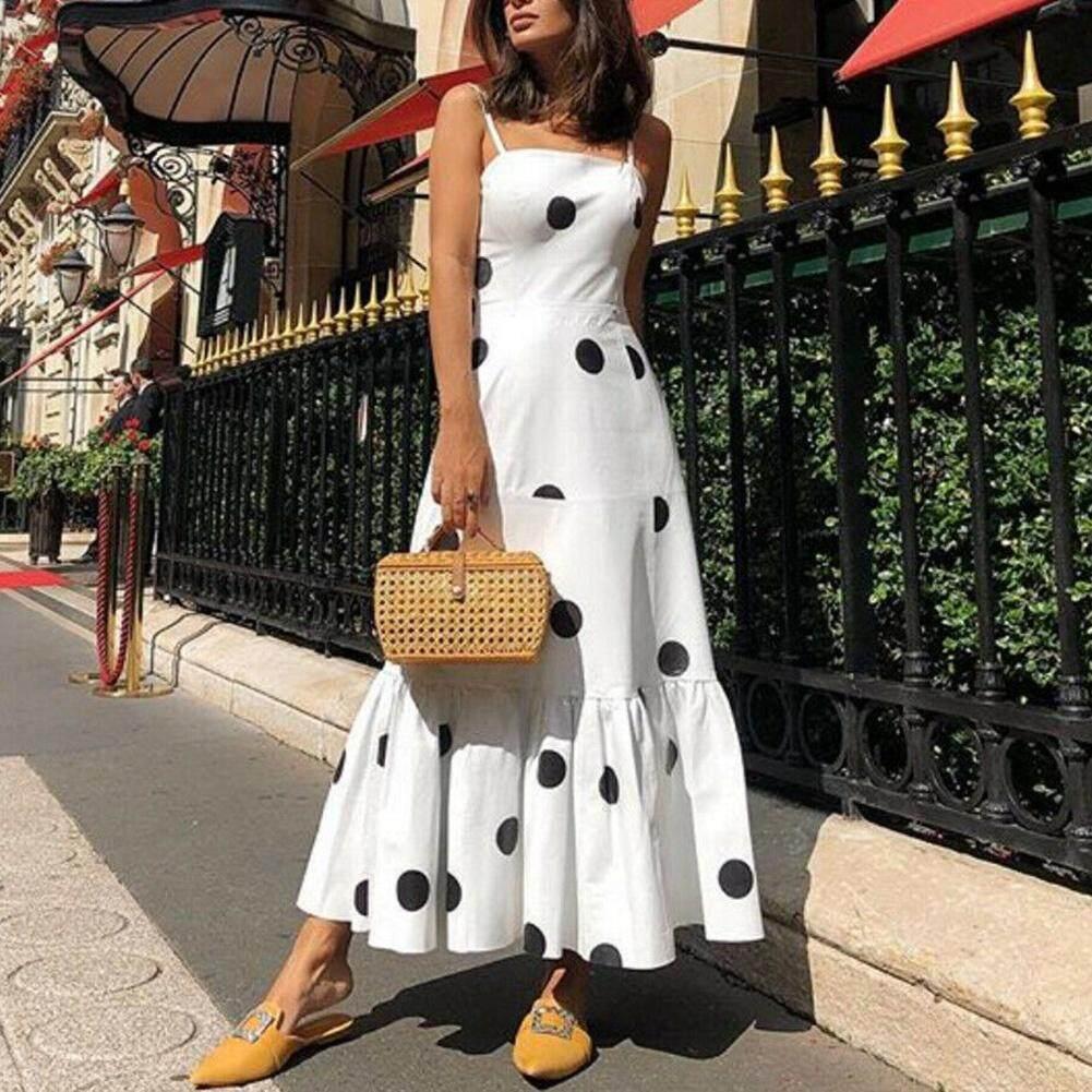 Women Dots Print Sleeveless Casual Beach Ruffled Long Slip Dress