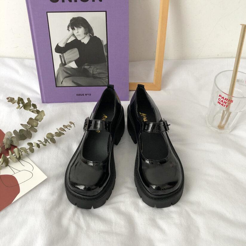 Giày Da Nữ Đế Dày Nhật Bản, Giày Đế Dày Mary Jane, Màu Đen, Đế Dày, Phù Hợp Mọi Trang Phục, Giày Đồng Phục Jk giá rẻ