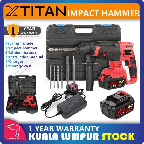 XTITAN 588VF Cordless Electric Hammer Drill 3 Function for Concrete Rotary Impact Drill With 2 Battery + Case + 1 Set of Drill Bits + 1 Year Warranty