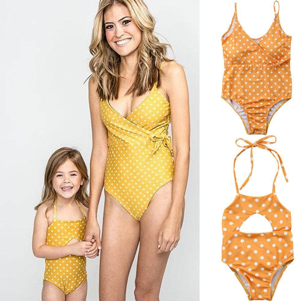 4a75791ead25d (For Daughter)Family Mother Daughter Matching Swimsuit Swimwear One-piece Bikini  Bathing Suit