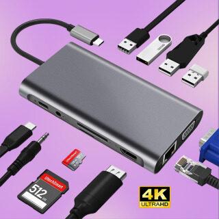 ( Hot ) Bộ Chuyển Đổi USB C 3.0 Type C Sang 4K HDMI Thunderbolt 3 PD Hub RJ45, Đầu Đọc Thẻ TF SD 3.1 VGA Stereo Khe Cắm Dành Cho MacBook Pro Air 13 2020 thumbnail