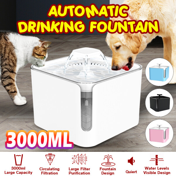 3000ml Pet Health Automatic Pet Water Fountain Silent Drinking USB Water Dispenser Feeder Bowl for Cats Dogs Multiple Pets Gifts USB plug -- Pink