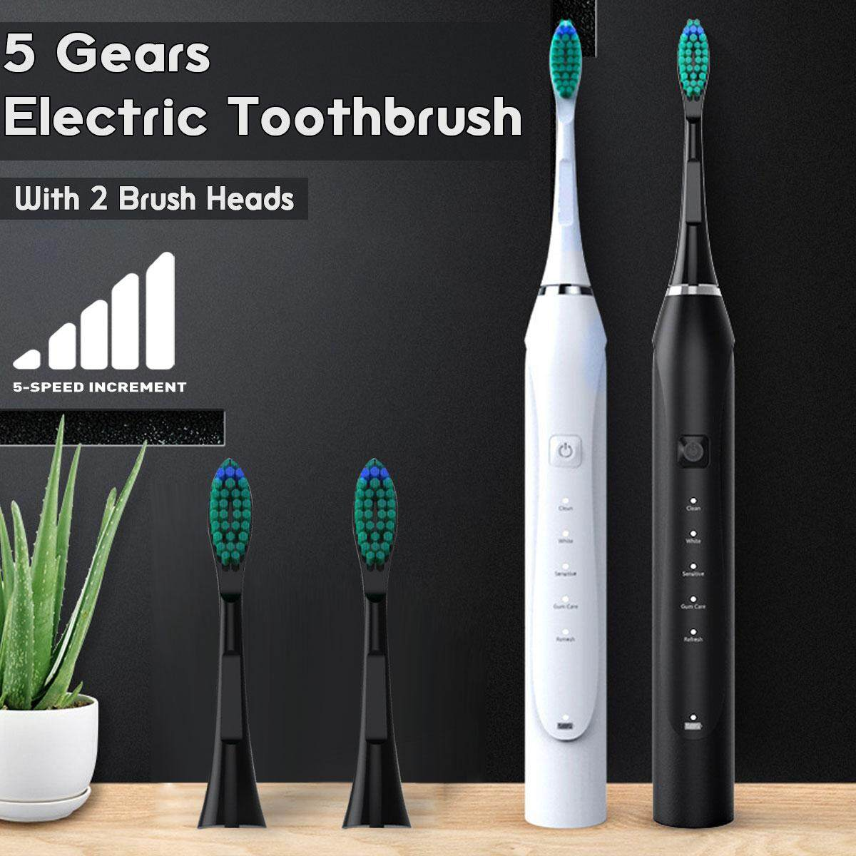 2 Replaced Toothbrush Head Sonic Electric Toothbrush 5 Gears Oral Teeth W*hitening Black,White