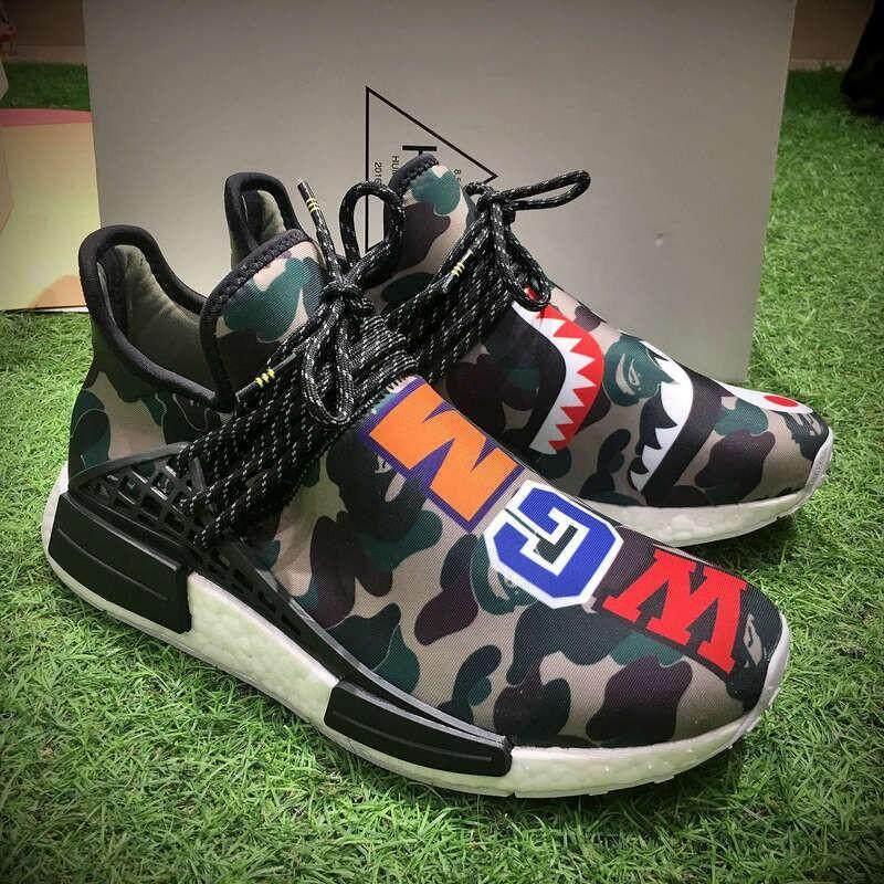 ยี่ห้อนี้ดีไหม  บุรีรัมย์ Adidas BAPE X Adidas HU NMD Boost มนุษย์รองเท้าลำลอง