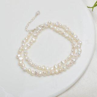 ASHIQI Natural Freshwater Pearl Choker Necklace Baroque pearl Jewelry for Women wedding 925 Silver Clasp Wholesale 2021 trend thumbnail